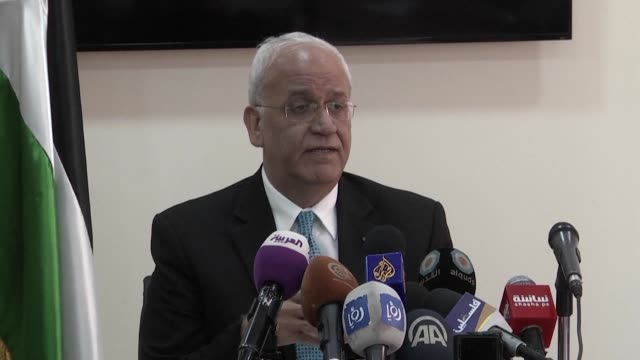 the secretary general of the palestine liberation organisation saeb erekat said on monday during a press conference that the essence of the conflict... - israel palestine conflict stock videos and b-roll footage