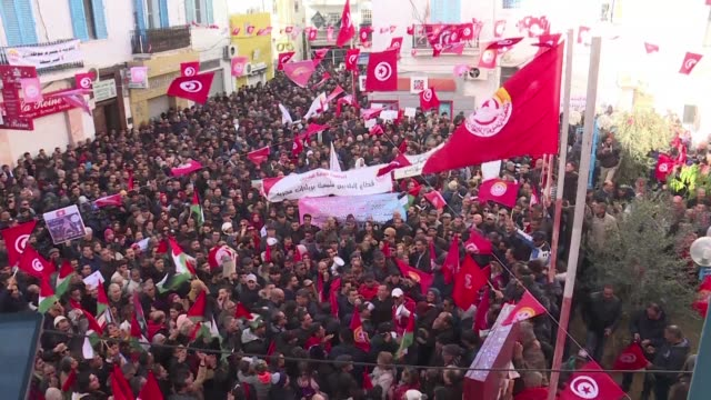 the secretary general of tunisia's powerful ugtt trade union noureddine taboubi gives a speech in front of a crowd gathered in front of the union's... - tunis stock videos & royalty-free footage