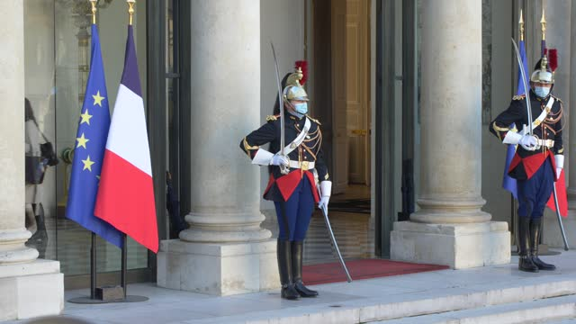 the secretary of state in charge of handicapped persons, sophie cluzel at the elysée palace, headquarters of the presidency of the french republic,... - 会長点の映像素材/bロール