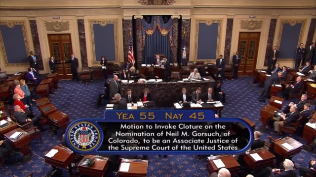 the senate begins to undergo a procedure whereby the nuclear option lowering the threshold for limiting debate on supreme court nominees would occur.... - lowering stock videos & royalty-free footage
