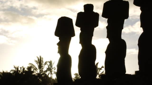 the setting sun silhouettes a line of easter island statues. available in hd. - maui stock videos & royalty-free footage