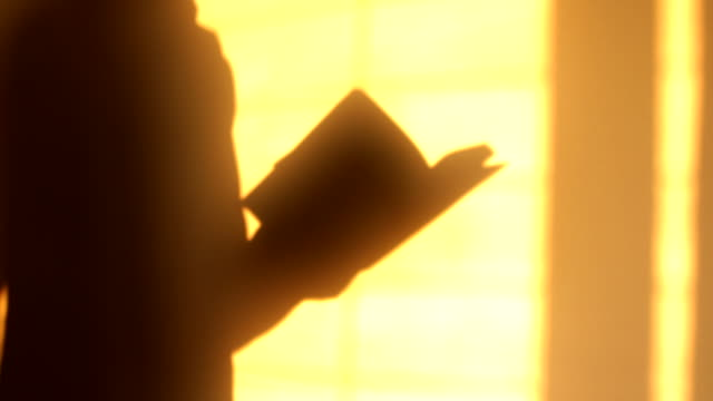 the shadow of a man reading a book on the orange wall - spirituality stock videos & royalty-free footage
