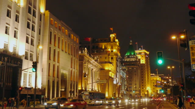 the shanghai bund at night, china - the bund stock videos & royalty-free footage