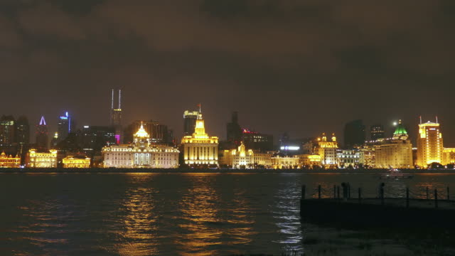 the shanghai bund at night, china - establishing shot stock videos & royalty-free footage