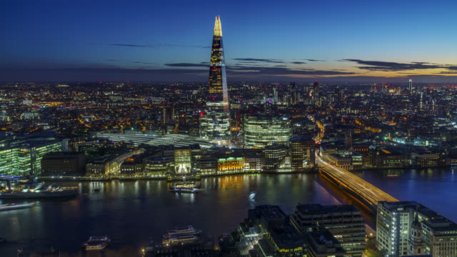 the shard and london skyline at night. - london england stock videos & royalty-free footage