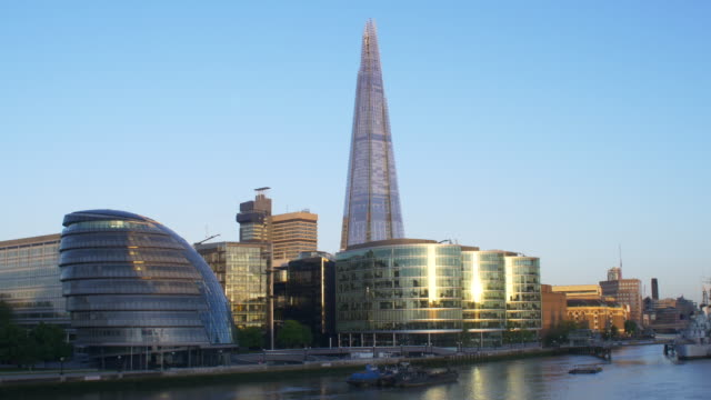 the shard and office blocks on the thames - establishing shot stock videos & royalty-free footage