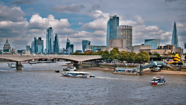the shard. blackfriars bridge. st. paul's cathedral. london. skyline - marina stock videos & royalty-free footage