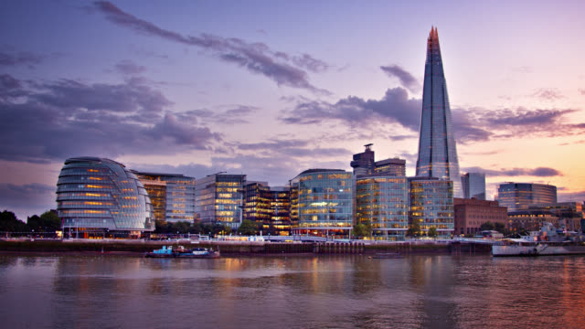 the shard. business district. london. landmark - twilight stock videos & royalty-free footage