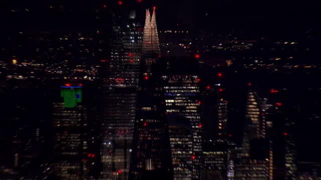 the shard glass night aerial - shard london bridge stock videos & royalty-free footage