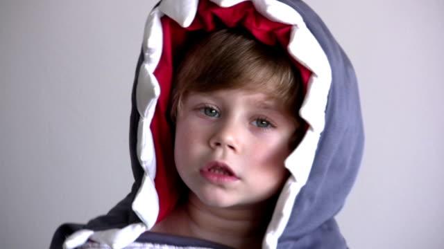 vídeos de stock, filmes e b-roll de o fantasia de tubarão - animal de brinquedo