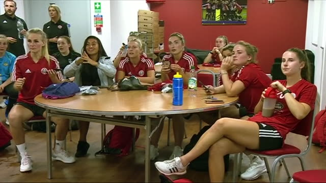 The Sheffield United Women's football team watching the Women's World Cup semifinal between England and the USA