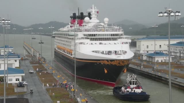 The ship Disney Wonder is the firstever cruise ship to go through the expanded locks of the Panama Canal