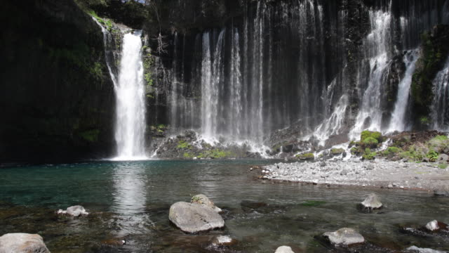 the shiraito falls in the fuji-hakone izu national park, shizuoka prefecture, honshu, japan - natural landmark stock videos & royalty-free footage