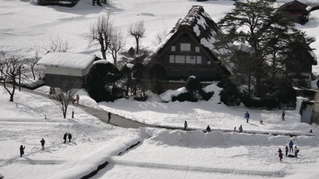 the shirakawago they are famous for their traditional gasshozukuri farmhouses some of which are more than 250 years old - ファームハウス点の映像素材/bロール