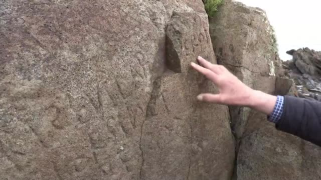 the shoreline of the plougasteldaoulas peninsula in brittany conceals a mystery carved in stone seemingly dating back to the 18th century - coastal feature stock-videos und b-roll-filmmaterial
