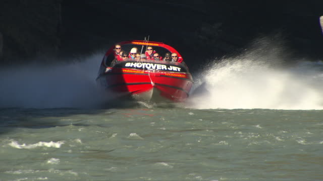 the shotover jet, queenstown - queenstown stock videos & royalty-free footage