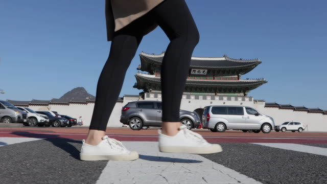 the side view of the woman's leg and walking on the crossroad near the gwanghwamun gate (entrance of gyeongbokgung palace) - leggings stock videos & royalty-free footage