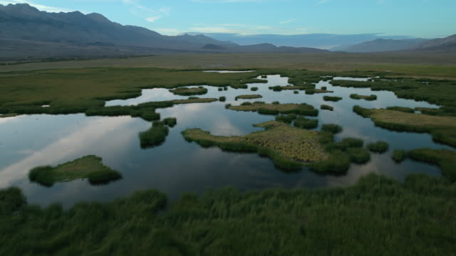 the sierra nevada mountains provide a stunning backdrop for wetlands in the owens valley. - basin and range province stock videos and b-roll footage