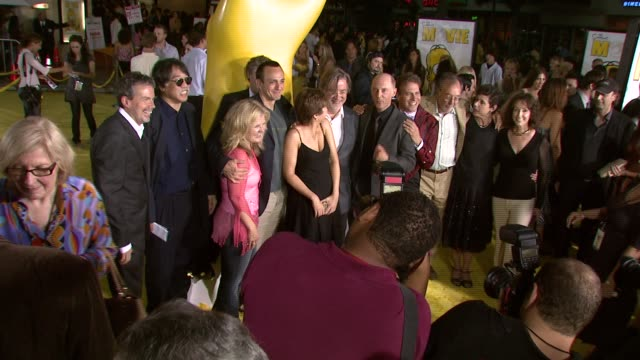 'the simpsons' cast at the 'the simpsons movie' with writer-producer mike scully, producer richard sakai, nancy cartwright, hank azaria, yeardley... - cast member stock videos & royalty-free footage