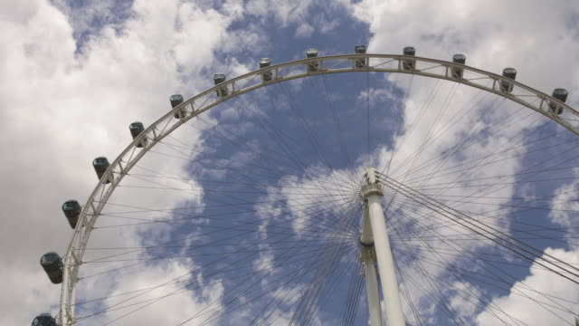 the singapore flyer spins as clouds drift by. - singapore flyer stock videos and b-roll footage