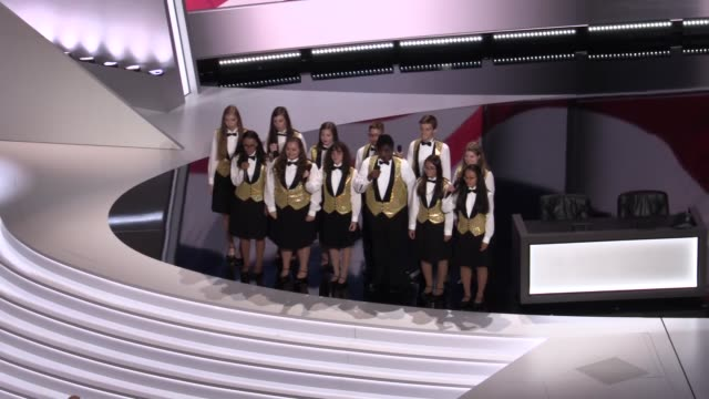 the singing angels of cleveland perform the national anthem of usa during the opening day of the republican national convention at the quicken loans... - republican national convention stock videos & royalty-free footage