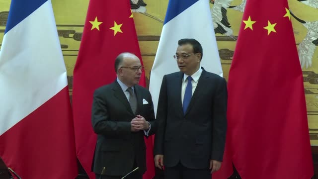 the sino-french partnership is an absolutely fundamental axis of french foreign policy says french pm bernard cazeneuve during a visit to beijing - bernard cazeneuve stock videos & royalty-free footage