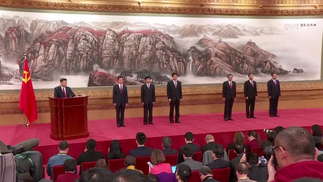 the six darksuited communist party officials joining president xi jinping on china's highest decision making body are all men in their 60s suggesting... - communist party stock videos and b-roll footage