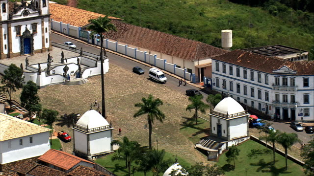the six linked chapels  - aerial view - minas gerais, congonhas, brazil - minas gerais stock videos and b-roll footage
