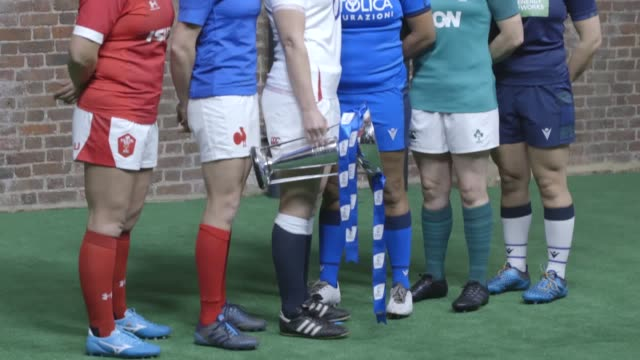 the six nations women's squads and coaches pose with the trophy ahead of the championship that starts next month. - wales stock videos & royalty-free footage