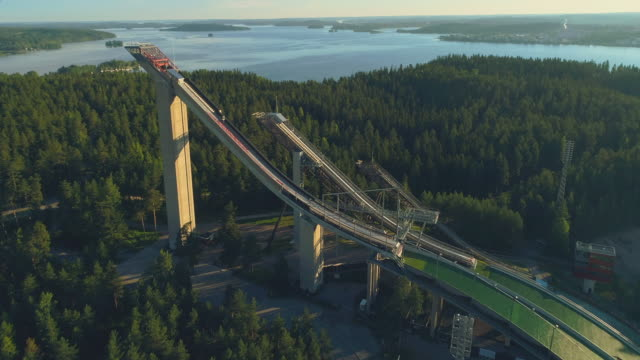 the ski jumping hills, sunrise, lahti, finland - finlandia video stock e b–roll