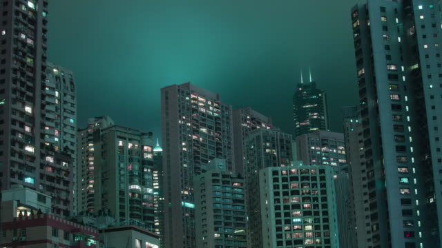 The sky changes colors over skyscrapers in Hong Kong.