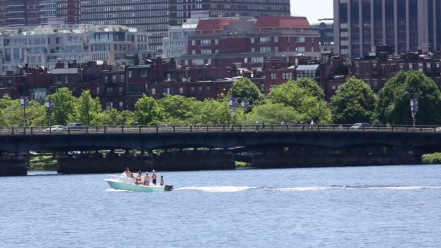 the skyline of downtown boston massachusetts can be seen from across the charles river as kayakers rowers and sailboats pass by shots of boats... - back bay stock-videos und b-roll-filmmaterial