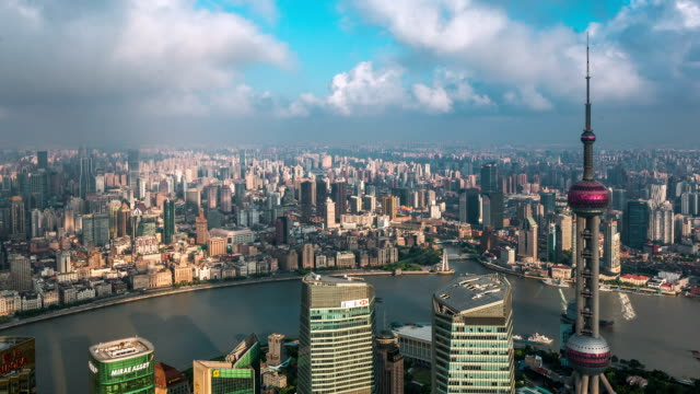 the skyline of the huangpu river - river huangpu stock videos & royalty-free footage