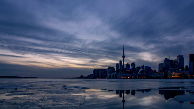 The skyline of Toronto during the sunset