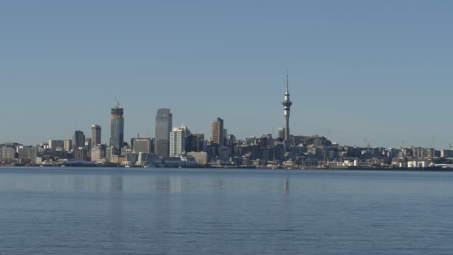 the skyline with newly completed developments and a new skyscraper still under construction during the coronavirus pandemic on april 04, 2020 in... - new zealand stock-videos und b-roll-filmmaterial