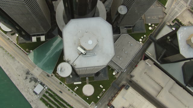 The skyscrapers of the GM Renaissance Center in downtown Detroit, seen from directly above.