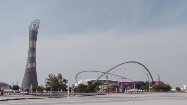 the small gulf state of qatar shocked the world last year by winning the bid to host the 2022 world cup doha qatar - bid stock videos & royalty-free footage