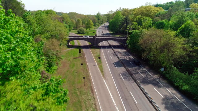 The  small old bridge across the Bronx River Parkway nearby Bronxville, Westchester County, New York.