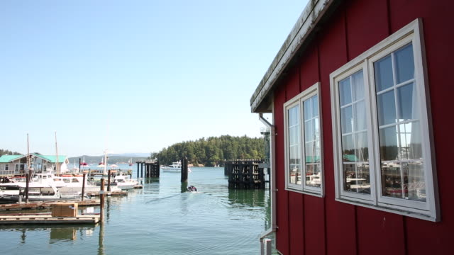 The small town of Friday Harbor in the San Juan Islands on a sunny day.