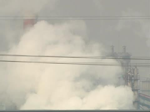 the smog infested city of linfen in china more general views of steel works factory - skadedjursangrepp bildbanksvideor och videomaterial från bakom kulisserna