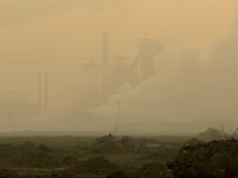 the smog infested city of linfen in china various of the steel works factory seen through the smog - skadedjursangrepp bildbanksvideor och videomaterial från bakom kulisserna