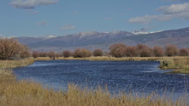 the snake river in idaho with the teton mountain range in background - スネーク川点の映像素材/bロール