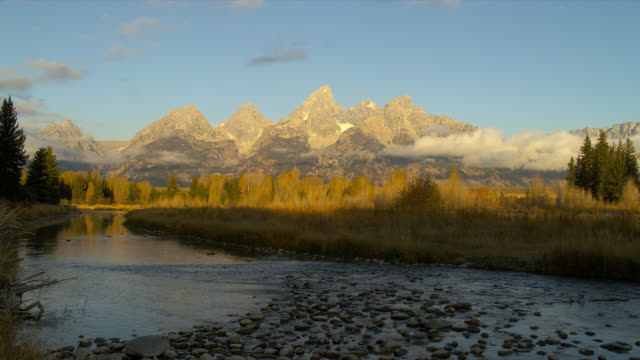 The Snake River winds around Schwabacher's Landing in Grand Teton National Park.