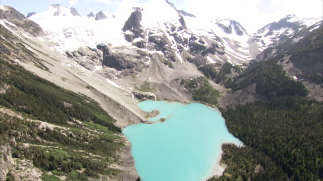 vídeos de stock, filmes e b-roll de the snow-capped peaks of the rocky mountains tower above a glacial meltwater lake in canada. available in hd. - neve derretida