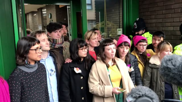 the socalled stansted 15 leave chelmsford crown court after they were sentenced for an aviation security offence the 15 protesters blocked a... - court room stock-videos und b-roll-filmmaterial