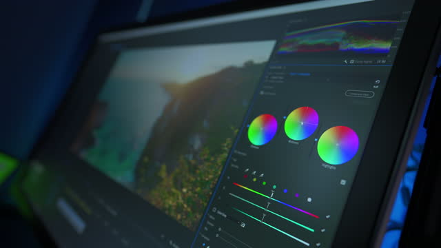 vídeos de stock e filmes b-roll de the software interface for color grading video in film and television. professional post production for photos and videos. image color correction - redactor