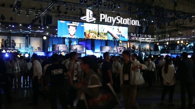 the sony computer entertainment inc. booth is seen at the tokyo game show 2014 in chiba, japan - game show stock videos & royalty-free footage