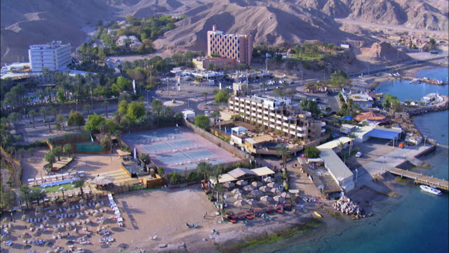 aerial the south beach and coral reef in the red sea ,eilat, israel - negev stock videos & royalty-free footage