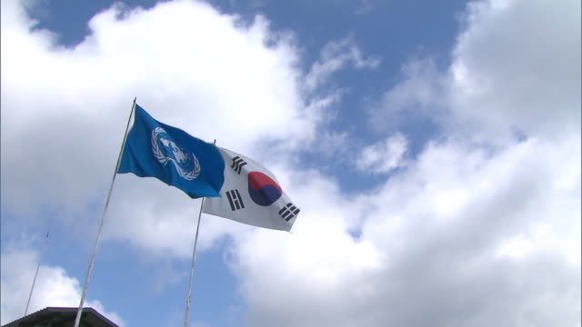 the south korean flag and the un flag being waved in the wind - south korean flag stock videos & royalty-free footage