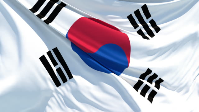 the south korean flag fluttering in the wind - national flag stock videos & royalty-free footage